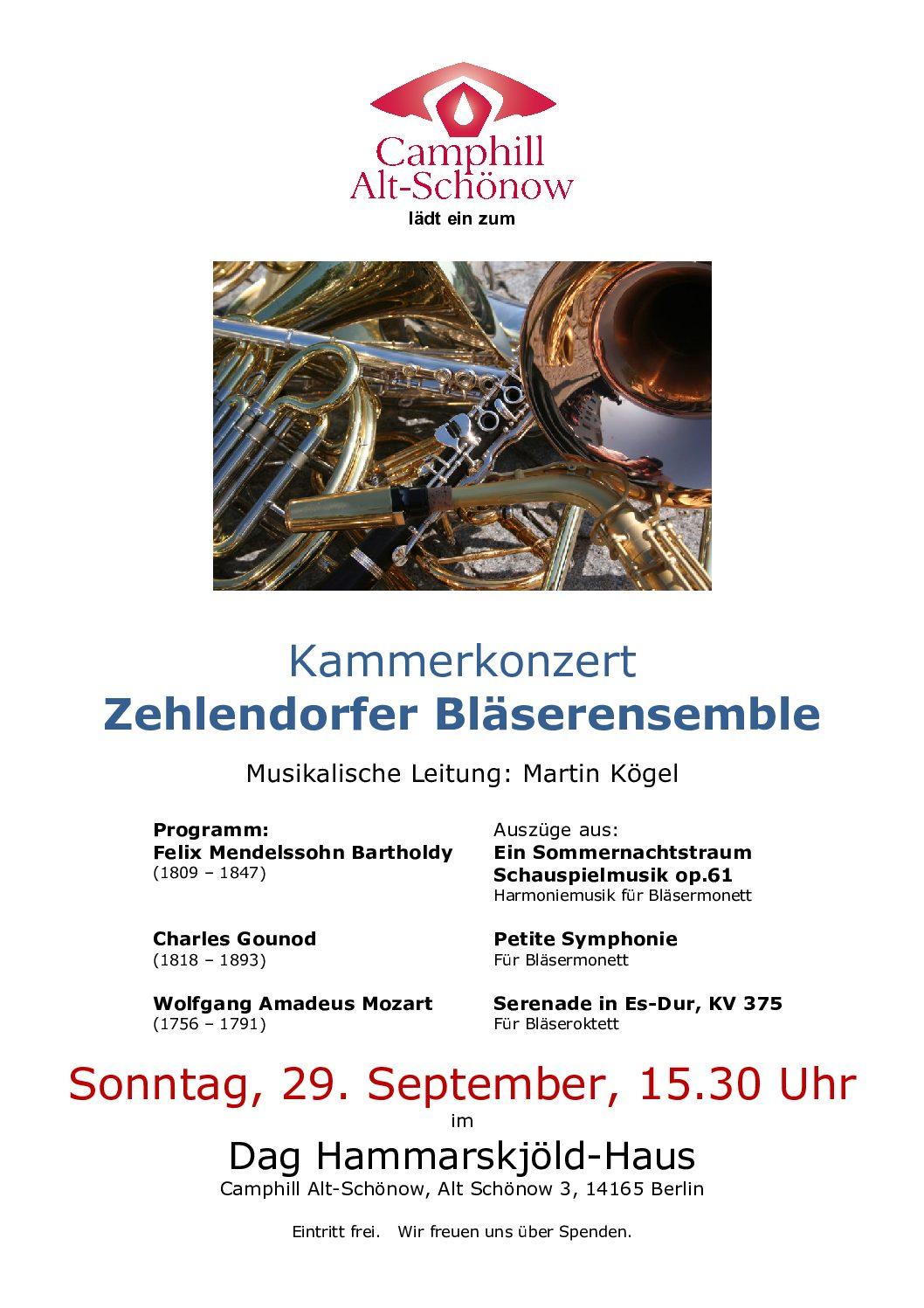 Kammerkonzert mit dem Zehlendorfer Bläserensemble